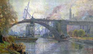Building the Dundas St Bridge Toronto 1910 by Owen Staples
